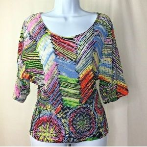 Alberto Makali Sz Small Top Pink Green Blue Top